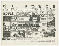 DC Space calendar with Chalk Circle show, Washington, D.C., April 1982