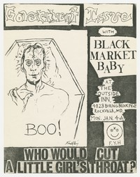 Government Issue and Black Market Baby concert flier, Outside Inn, Rockville, Maryland, January 4, 1982