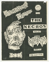 Government Issue, The Necros, The Misfits concert flier, Washington, D.C., February 28, 1982