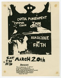The Faith, Deadline and Iron Cross concert flier, Bethesda, Maryland, March 20, 1982