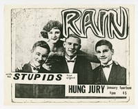 Rain concert flier, Hung Jury Pub, Washington, D.C., January 14, 1987