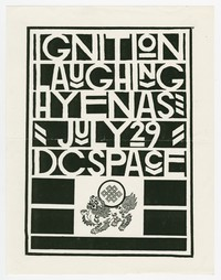 Ignition and Laughing Hyenas concert flier, d.c. Space, Washington, D.C., July 29, 1987