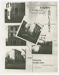 Happy Go Licky, Fire Party, Broken Siren concert flier, Food For Thought, Washington, D.C., June 21, 1987