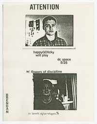 Happy Go Licky and Flowers of Discipline concert flier, d.c. Space, Washington, D.C., May 25, 1987