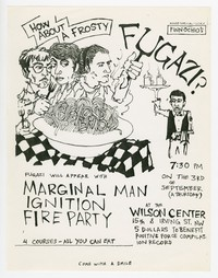 Fugazi, Marginal Man, Ignition, and Fire Party concert flier, Wilson Center, Washington, D.C., September 3, 1987
