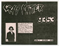 Gray Matter and 9353 concert flier, d.c. Space, Washington, D.C., April 2, 1986
