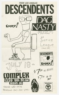 Descendents and Dag Nasty concert flier, Complex, Washington, D.C., July 18, 1986