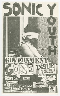 Sonic Youth and Government Issue concert flier, Complex, Washington, D.C., July 25, 1986