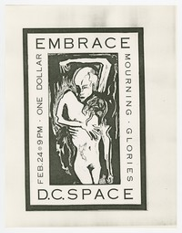 Embrace and Mourning Glories concert flier, d.c. Space, Washington, D.C., February 24, 1986