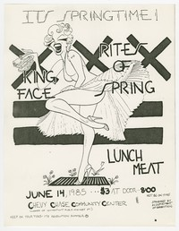 King Face, Rites of Spring, Lunchmeat concert flier, Chevy Chase Community Center, Washington, D.C., June 14, 1985