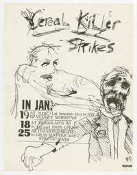 Cereal Killer flier for multiple shows, Arlington, Virginia and Washington, D.C., January 18, 19, and 25, 1985