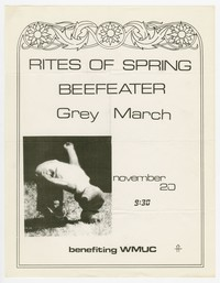 Rites of Spring and Beefeater concert flier, 9:30 Club, Washington, D.C., November 20, 1985