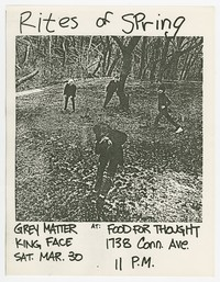 Rites of Spring, Gray Matter, King Face concert flier, Food For Thought, Washington, D.C., March 30, 1985