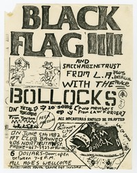 Black Flag, Saccharine Trust, Artificial Peace concert flier, Club Banned, Baltimore, Maryland, June 5, 1982
