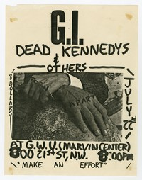 Government Issue and Dead Kennedys concert flier, George Washington University, Washington, D.C, July 22, 1982