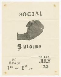 Social Suicide concert flier, d.c. Space, Washington, D.C., July 23, 1982
