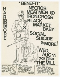 Necros, Meatmen, Iron Cross concert flier, The Mill, Adelphi, Maryland, August 11, 1982