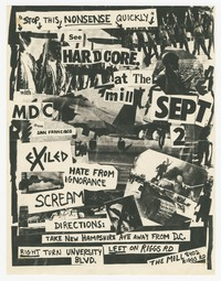 MDC, Exiled, Hate from Ignorance, Scream concert flier, The Mill, Adelphi, Maryland, September 2, 1982