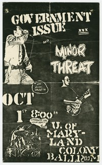 Government Issue concert flier, College Park, Maryland, October 1, 1982