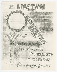 Punk percussion protest, Beefeater and Rites of Spring flier, Washington, D.C., June 1985