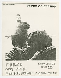 Rites of Spring, Embrace, Gray Matter concert flier, Food For Thought, Washington, D.C., July 27, 1985