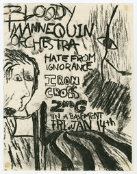 Bloody Mannequin Orchestra, Hate from Ignorance, and Iron Cross concert flier, Rockville, Maryland, January 1983