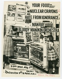 Bloody Mannequin Orchestra and Nuclear Crayons concert flier, Washington, D.C., August 1983