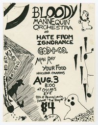 Bloody Mannequin Orchestra, Hate From Ignorance (H.F.I.), God + Co., Your Food, Man Ray and Nuclear Crayons concert flier, Washington, D.C., August 1983 (Design 3)