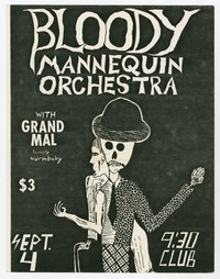 Bloody Mannequin Orchestra and Grand Mal (formerly Wurm Baby) concert flier, 9:30 Club, Washington, D.C., September 4, 1983 (Design 3)