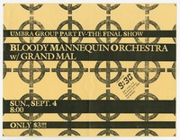 Bloody Mannequin Orchestra and Grand Mal concert flier, 9:30 Club, Washington, D.C., September 4, 1983 (Design 4)