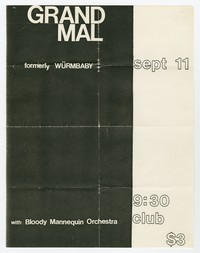 Grand Mal (formerly Wurm Baby) and Bloody Mannequin Orchestra, 9:30 Club, Washington, D.C., September 11, 1983