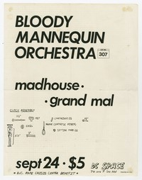Bloody Mannequin Orchestra, Madhouse, Grand Mal concert flier, d.c. Space, Washington, D.C., September 24, 1983