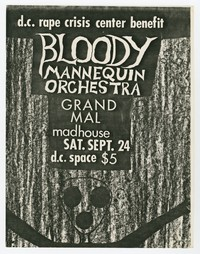 Bloody Mannequin Orchestra, Grand Mal, Madhouse concert flier, D.C. Space, Washington, D.C., September 24, 1983