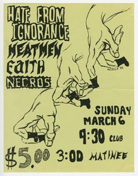 Hate from Ignorance, Meatmen, Faith and Necros concert flier, 9:30 Club, Washington, D.C., March 6, 1983
