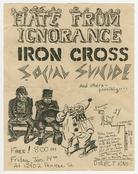 Hate from Ignorance, Iron Cross and Social Suicide concert flier, Rockville, MD, January 14, 1983