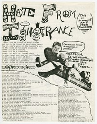 Hate from Ignorance lyric sheet, 9:30 Club, Washington, D.C., March 6, 1983