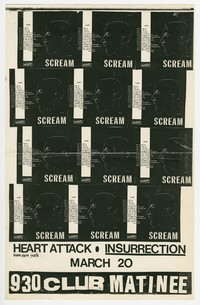 Scream, Heart Attack and Insurrection concert flier, 9:30 Club, Washington, D.C., March 20, 1983