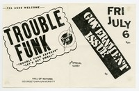 Trouble Funk and Government Issue (G.I.) concert flier, Hall of Nations, Georgetown University, Washington, D.C., July 6, 1983