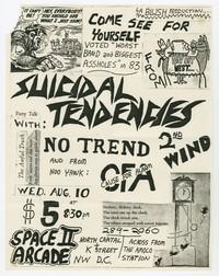 Suicidal Tendencies, No Trend, Second Wind and Cause for Alarm concert flier, Space II Arcade, Washington, D.C., August 10, 1983