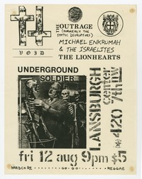 Void, Outrage, Michael Enkrumah & the Israelites, Lionhearts and Underground Soldier concert flier, Lansburgh Cultural Center, Washington, D.C., August 12, 1983