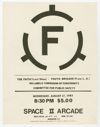 Faith, Youth Brigade, No Labels, Corrosion of Conformity and Committee for Public Safety concert flier, Space II Arcade, Washington, D.C., August 17, 1983