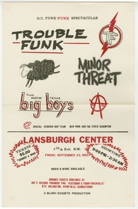Trouble Funk, Minor Threat, Big Boys concert flier, Lansburgh Cultural Center, Washington, D.C., September 23, 1983