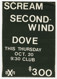 Scream, Second Wind and Dove concert flier, 9:30 Club, Washington, D.C., October 20, 1983