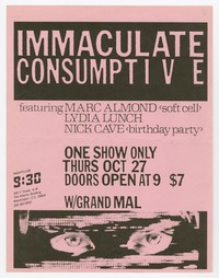 Immaculate Consumptive and Grand Mal concert flier, 9:30 Club, Washington, D.C., October 27, 1983