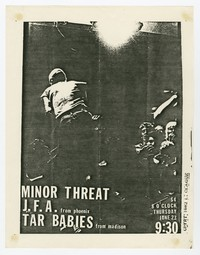 Minor Threat, J.F.A. and Tar Babies concert flier, 9:30 Club, Washington, D.C., June 23, 1983