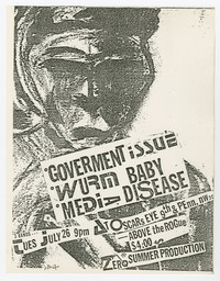 Government Issue (G.I.), Wurm Baby and Media Disease concert flier, Oscar's Eye, Washington, D.C., July 26, 1983