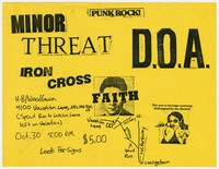 Minor Threat, D.O.A., Iron Cross, and The Faith concert flier, H.B. Woodlawn High School, Arlington, VA, October 30, 1982