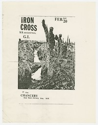 Iron Cross, S.S. Decontrol and G.I. concert flier, The Chancery, Washington, D.C., February 20, 1982