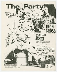 Iron Cross, Scream, Void, Hate from Ignorance, Capital Punishment and Trenchmouth concert flier, Bethesda, Maryland, May 22, 1982