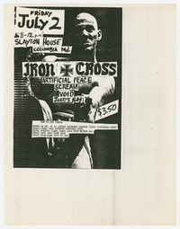 Iron Cross, Artificial Peace, Scream, Void and Jerry's Kids concert flier, Columbia, Maryland, July 2, 1982